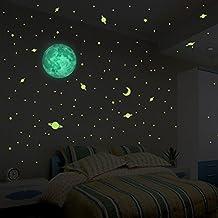 Pegatina de luna fosforescente 30cm con 240 pequeñas estrellas y planetas