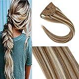 YoungSee Ponytail Extension Echthaar Mittel Braun mit Platinblond Clip in Ponytail Haarteil 35 cm Gute Qualitat Dickes Glatt Haar 80g