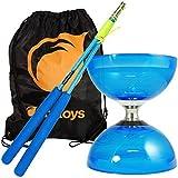 Blue Cyclone Quartz 2 Triple Bearing Diabolo & Blue Superglass Diablo Sticks Set with Firetoys? Bag by Firetoys Diabolo