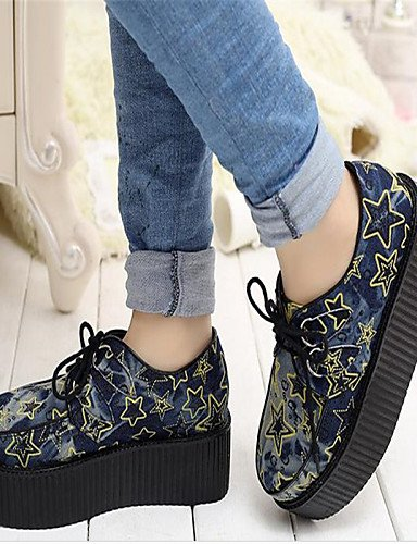 ZQ Scarpe Donna - Stringate - Casual - Creepers / Punta arrotondata - Plateau - Denim - Blu , blue-us8 / eu39 / uk6 / cn39 , blue-us8 / eu39 / uk6 / cn39 blue-us6.5-7 / eu37 / uk4.5-5 / cn37