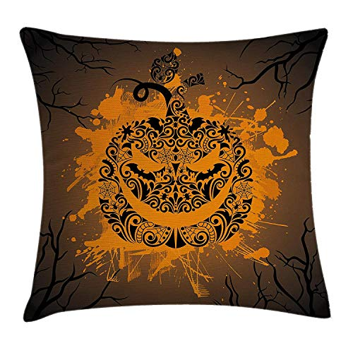 GONIESA Halloween Decorations Throw Pillow Cushion Cover, Engraved Pumpkin with Fire Flame Color Splash Ghost Party Theme Art, Decorative Square Accent Pillow Case, 18 X 18 inches, Brown Orange