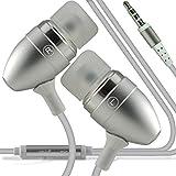 I-Sonite (Silber) Qualitäts-Kopfhörer / Kopfhörer 3,5 mm Klinke mit Mikrofon und Ein / Aus-Knopf für Antwort ZTE Axon M