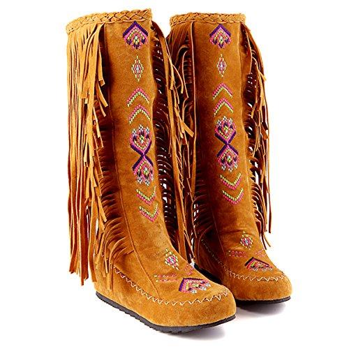 YE Damen Keilabsatz Bestickte Stiefel Plateau mit Fransen Herbst Winter Fashion Height Increasing innerhalb der erhöhte Bequem Schuhe Hellbraun