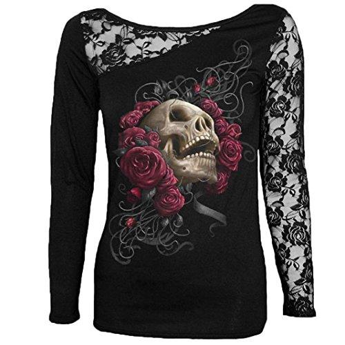 Abstand!!! Refulgence 2017 frauen - gothic - spitze schädel drucken bluse mit langen ärmel tunika - t - shirt. (M, (Kostüm Strumpfhosen Sale Herren)