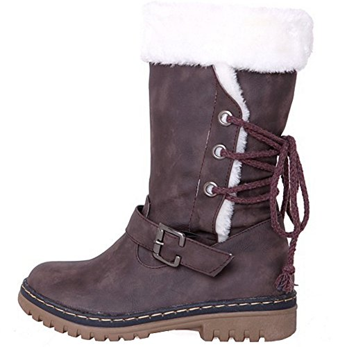 COOLCEPT Damen Herbst-Winter Warm Gefütterte Snow Boots Kunstfell Stiefeletten Braun