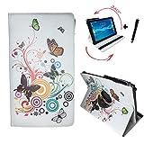 Tablet Tasche für Acer Iconia One 10 (B3-A32) Schutz Hülle Etui Case + Touch Pen – 10.1 Zoll Schmetterling 360_