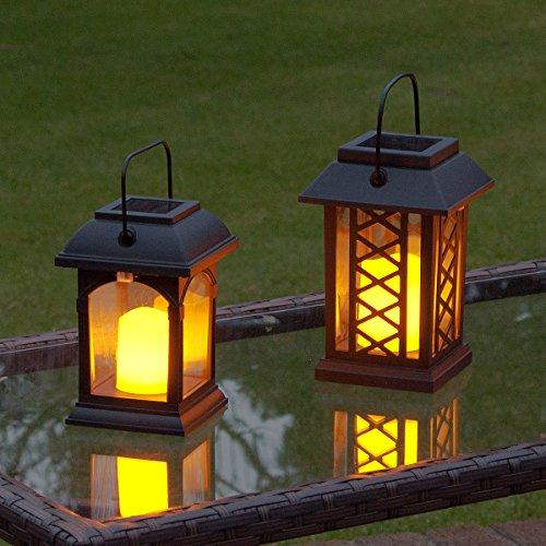Festive Lights Jardin Bougie Lanterne – Fonctionne à l'énergie Solaire – Effet Scintillant – Ambre LED – Lot de 2