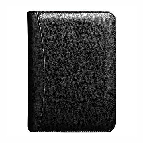 Zhi Jin Leder Business Notizbuch, mit Taschenrechner, kann ein Portemonnaie sein, mit Reißverschluss B5-Black (Taschenrechner Business Card Holder)