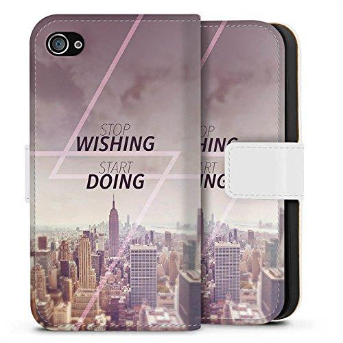 Apple iPhone X Silikon Hülle Case Schutzhülle City Wish Statement Sideflip Tasche weiß
