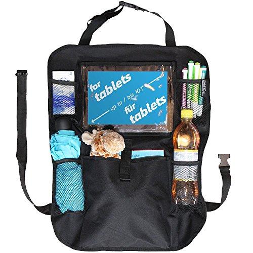 Auto-Rücksitz-Organizer-Kinder - Schmutzabweisender Rückenlehnen-schutz - Kick-matte und Auto-Sitz-Schutz mit praktischen Rücksitz-Taschen inklusive iPad-Tablet-Fach -
