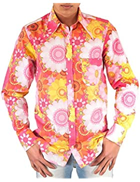 Comycom Dura anni settanta fiori Flower Power Camicia Rosa