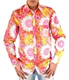 Comycom Buntes 70er Jahre Blumen Flower Power Hemd pink XXL