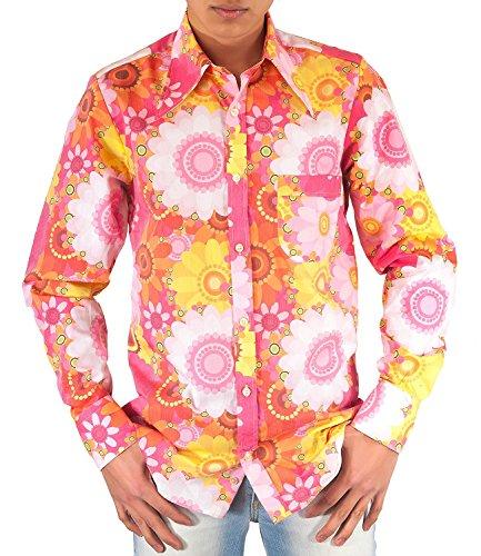 Comycom Buntes 70er Jahre Blumen Flower Power Hemd pink ()