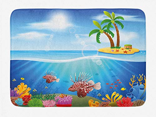 HLKPE Sea Life Bath Mat, Graphics of Lionfish and Coral Reefs in The Sea Marine Beauty Palm Trees on Island, Plush Bathroom Decor Mat with Non Slip Backing, 23.6 W X 15.7 L Inches, Multicolor