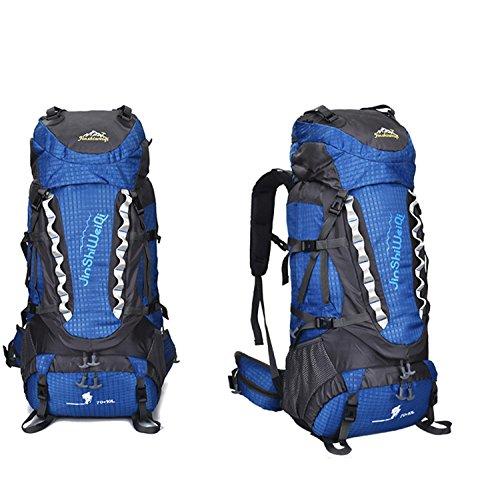 HWJF Wasserdichte Großraum-Outdoor-Wandertour Bergsteigen Tasche Sport Schultern Freizeit Rucksack Blue