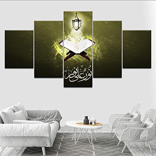 (Wiwhy Modulare Bilder Wandkunst Hd Drucke 5 Stücke Islamischen Leinwand Muslimischen Malerei Nacht Hintergrund Dekoration Kunstwerk Poster-40Cmx60/80/100Cm,Without Framewiwhy)