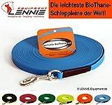 LENNIE Ultraleichte Schleppleine aus 9 mm BioThane, 50 m lang, Azurblau, genäht, 1-60 Meter, 7 Farben