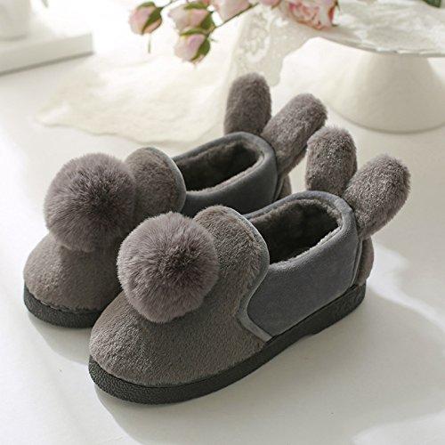 LaxBa Femmes Hommes Chaussures Slipper antiglisse intérieur GrayA