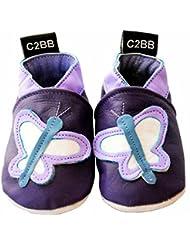 C2BB - Chaussons bébé cuir souple fille   Papillon violet