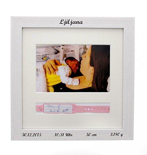 Baby Bilderrahmen zur Aufbewahrung des Geburtsarmbands, Krankenhausbändchens mit Ihren persönlichen Geburtsdaten, Farbe:weiss