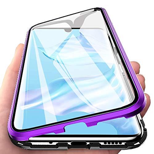 Eabhulie Huawei P30 Pro Hülle, Vollbildabdeckung Gehärtetem Glas mit Magnetischer Adsorptionskasten Metall Rahmen 360 Grad Komplett Schutzhülle für Huawei P30 Pro Lila Schwarz