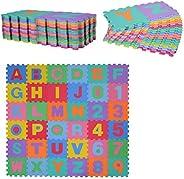 HOMCOM Alfombra Puzzle para Niños 31x31cm 36 Piezas Numeros 0 al 9 y 26 Letras Alfabeto Goma Espuma Alfombrill