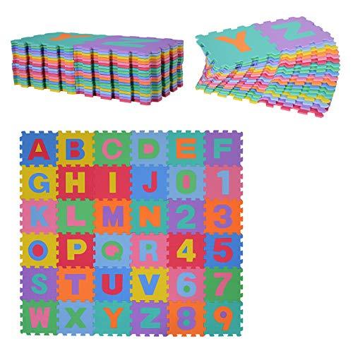 HOMCOM Alfombra puzle para Niños 192x192 cm 36 Piezas Numeros 0 al 9 y 26 Letras Alfabeto Goma Espuma...