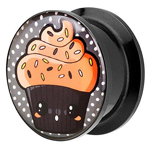 Piersando Ohr Plug Piercing Kunststoff Motiv Comic Picture Flesh Tunnel Ohrplug mit Choco Cupcake Schwarz Orange 8mm