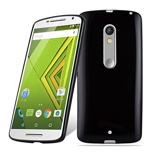 Cadorabo Hülle für Motorola Moto X Play - Hülle in SCHWARZ – Handyhülle aus TPU Silikon im Ultra Slim 'AIR' Design - Silikonhülle Schutzhülle Soft Back Cover Case Bumper