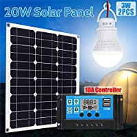 Lixada 20W Monocrystalline Solar Panel Module Kit 2pcs 3W Light Bulb 10A Solar Charge Controller for Home RV Car Boat Batterys Charging