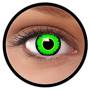 FXEYEZ® Farbige Kontaktlinsen grün Reptil + Linsenbehälter, weich, ohne Stärke als 2er Pack – angenehm zu tragen und perfekt zu Halloween, Karneval, Fasching oder Fasnacht