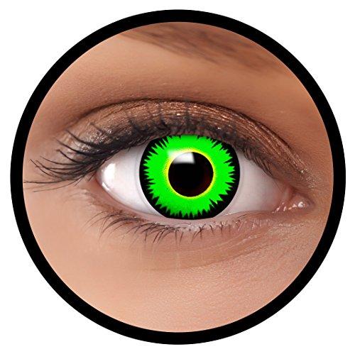 FXEYEZ® Farbige Kontaktlinsen grün Reptil + Linsenbehälter, weich, ohne Stärke als 2er Pack - angenehm zu tragen und perfekt zu Halloween, Karneval, Fasching oder - Ein Nettes Halloween Kostüm