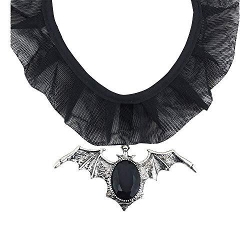 Widmann 7129P Halskette Fledermaus, Unisex– Erwachsene, Grau, Schwarz, One ()