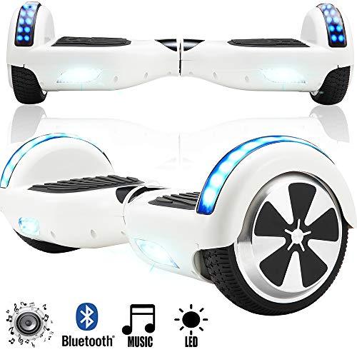 Magic Vida Skateboard Électrique 6.5 Pouces Puissance 700W avec Haut Parleur Bluetooth et LED Gyropode Auto-Équilibrage de Bonne qualité pour Enfants et Adultes (Blanc)