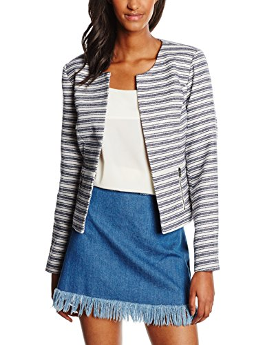 ONLY Damen Blazer Onlkim Cropped Blue Stripe Jacket Otw, Mehrfarbig (Night Sky Stripes:Cloud Dancer), 38