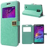 Handytasche Etui Flip Business Case Cover Samsung Galaxy Note 4 / SM-N910F - SMART BOOK Ständer mint-grün