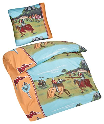 Aminata Kids - Kinder-Bettwäsche-Set 135-x-200 cm Ritter-Burg-Motiv Schloss Drache -n 100-% Baumwolle Renforce bunt-e hell-blau-e