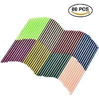 TOPELEK 80 Psc Barras de Silicona Caliente Reluciente, 8 Colores, 7mm de Diámetro, 100mm de Longitud, Ideal para DIY Arte y Reparaciones Diarias, para Mini Pistola de Pegamento(20-30 W)