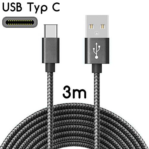 C Kabel auf USB 2.0 | Nylon Ladekabel mit USB-Typ-C-Anschluss | Länge: 3 Meter / 3m | Farbe: Schwarz ()