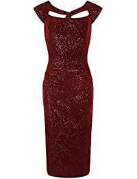Pretty Kitty Fashion Red Sequin Bodycon Wifggle Dress