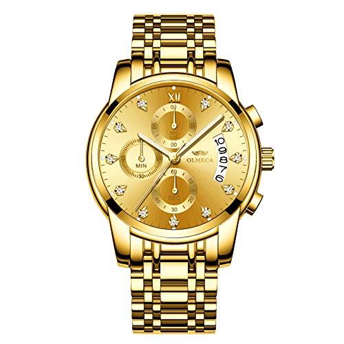 1fd534f56f51fa Olmeca uomo orologi di lusso orologi da polso impermeabile moda orologio al  quarzo cronografo in acciaio