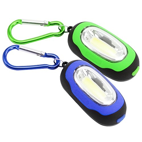 com-four® 2X magnetische Mini LED Taschenlampe mit Karabiner, in blau und grün, 3 Leucht-Modi (02 Stück - blau/grün)