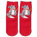 XuxMim Weihnachten Frauen Baumwolle Socken Print Dicker Anti-Rutsch-Fußbodensocken Teppich Socken