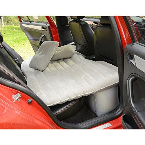 SUV Matelas gonflable avec pompe à air Voyage Camping imperméable à l'humidité Coussin de siège arrière de voiture Siège de repos (Beige, 135cm)