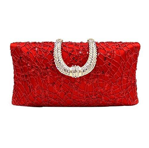 Pochette Di Alta Qualità Borsa Da Sera Del Diamante Delle Donne Red