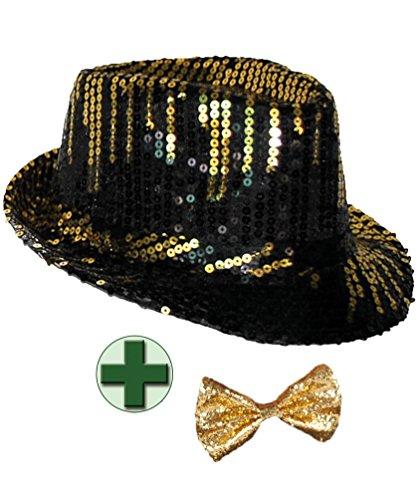 Karneval-Klamotten Pailletten-Hut Disco-Hut schwarz Gold Glitzer-Hut mit Fliege Gold Silvester Karneval Herren-Hut