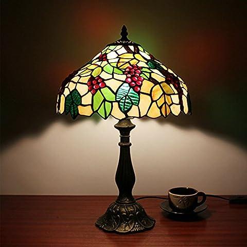 Modern Tischlampe, Frideko 12 Zoll Luxus Tiffany-Stil Nachttischlampe Tiffanylampe, Weintraube-Muster, 30x48cm für Wohnzimmer Schlafzimmer Cafeteria Galerie Hotel