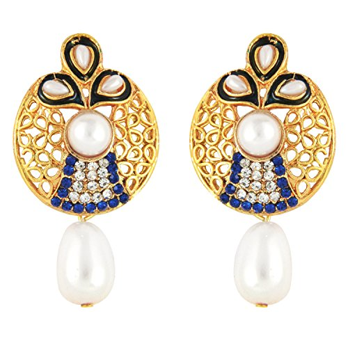 Traditional Ethnic Designer Drop Earrings by Parisha Jewells with Artificial Pearl and Crystal ER7090033  available at amazon for Rs.149