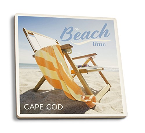 Lantern Press Cape Cod Massachusetts Strandkorb, zusammenklappbar, Keramik, Multi, 4 Coaster Set (Sammler Tee-sets)