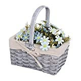 iBaste Blumenkorb Hochzeit Vintage Korb Blumenmädchen Korb Aus Rattan Geflochten Weidenkorb mit Henkel